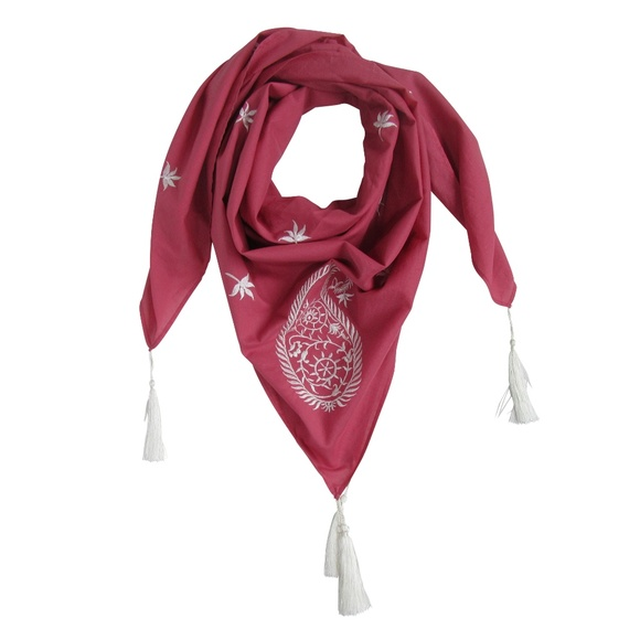 7 Artisan Street ® Accessories - NEW! Embroidered Paisley SQUARE Scarf Marsala Pink